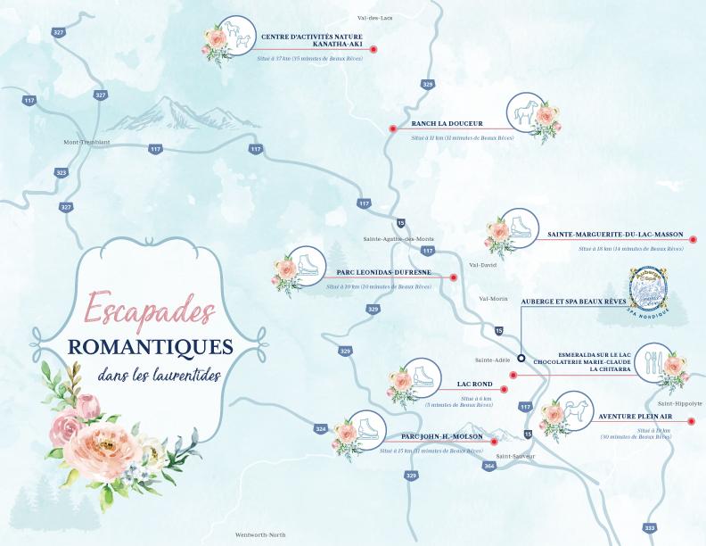 Les Laurentides - Cartes des activités romantiques à découvrir